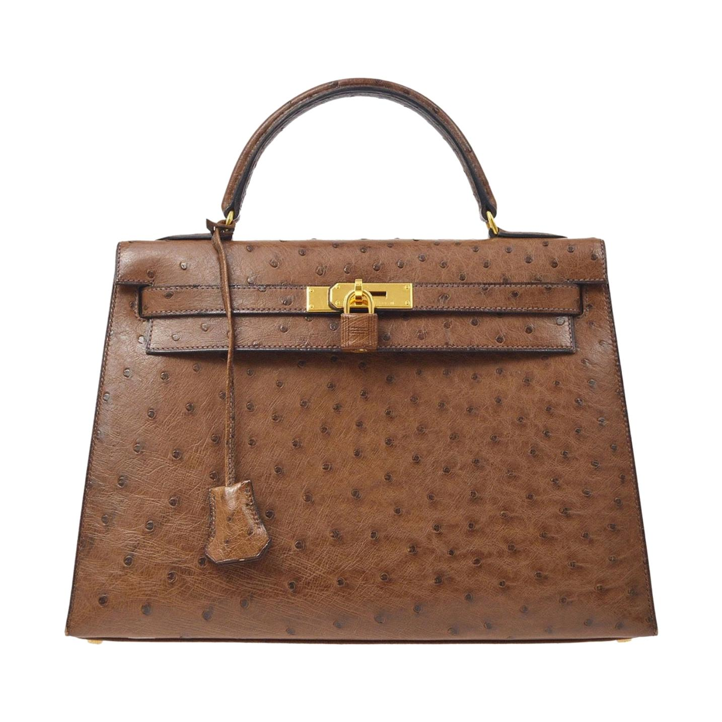 Hermes Kelly 32 Ostrich Exotic Brown Gold Top Handle Satchel Shoulder Bag