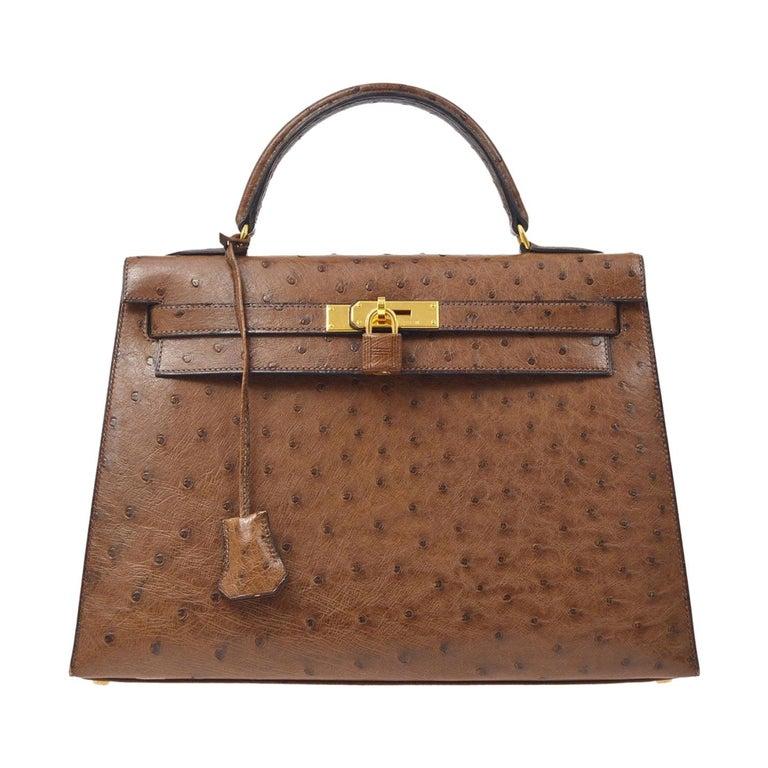 Hermes Kelly 32 Ostrich Exotic Brown Gold Top Handle Satchel Shoulder Bag  For Sale