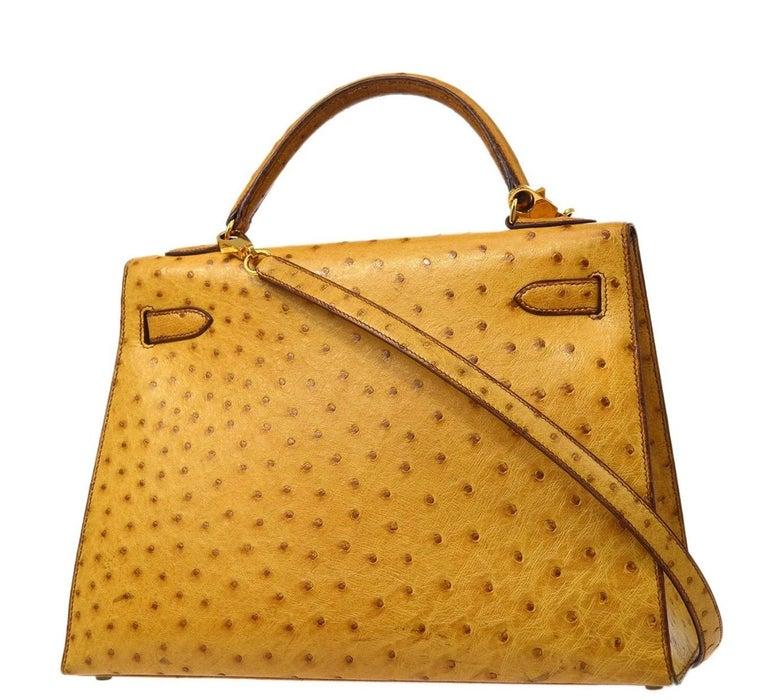 Orange Hermes Kelly 32 Ostrich Exotic Yellow Gold Top Handle Satchel Shoulder Bag  For Sale