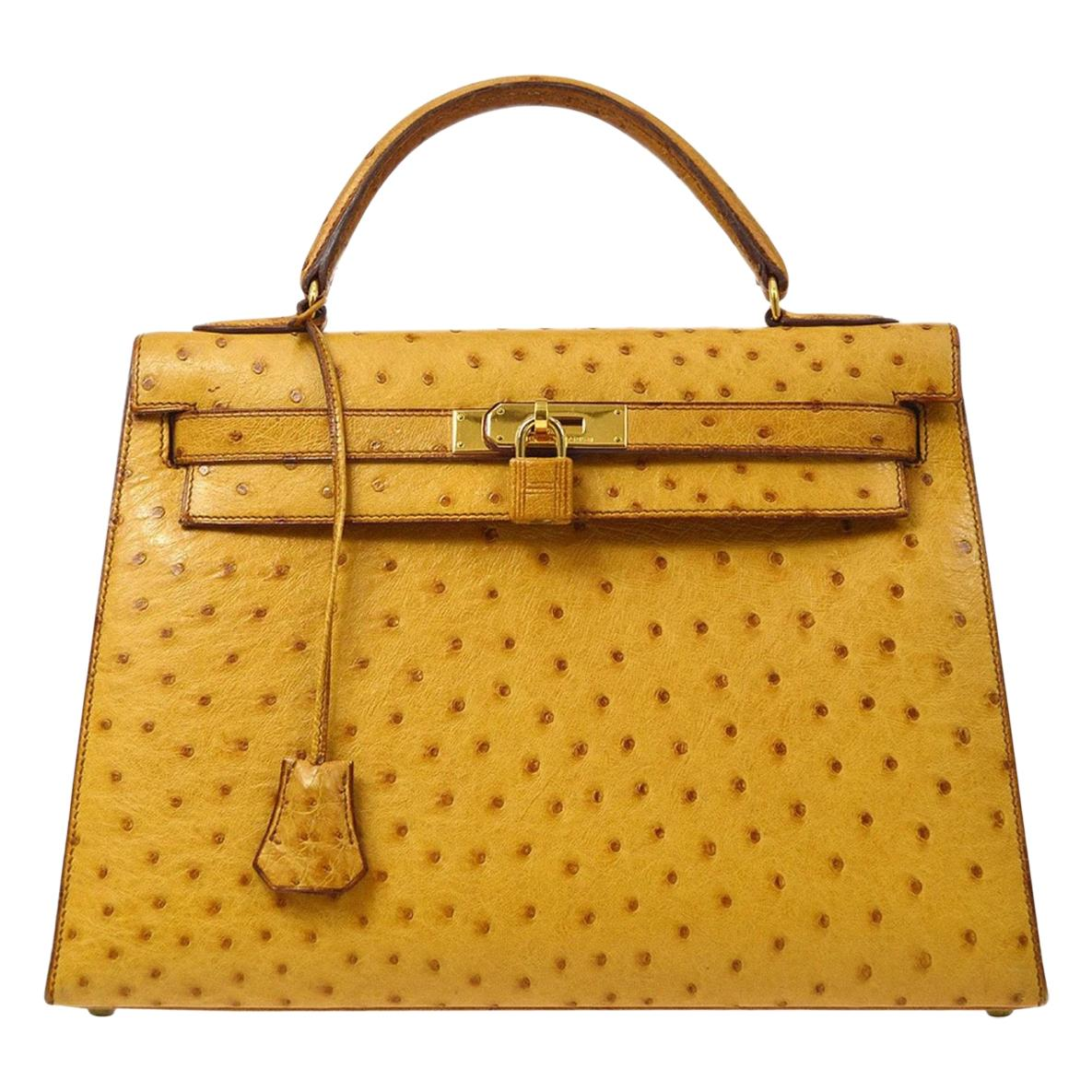 Hermes Kelly 32 Ostrich Exotic Yellow Gold Top Handle Satchel Shoulder Bag