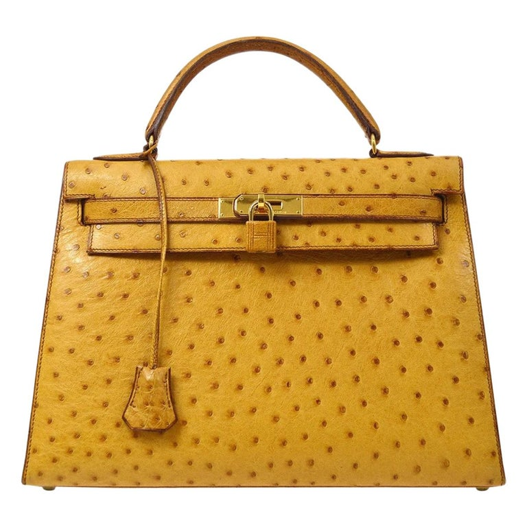 Hermes Kelly 32 Ostrich Exotic Yellow Gold Top Handle Satchel Shoulder Bag  For Sale