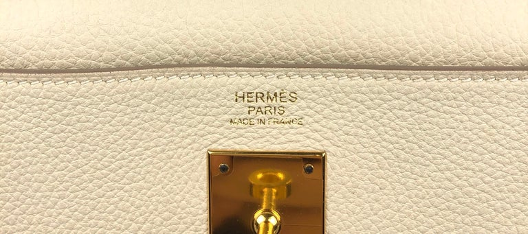 Hermes Kelly 32 Parchemin Beige Togo Gold Hardware Pristine Plastic On Hardware For Sale 6