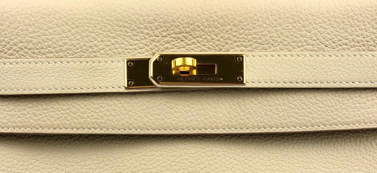 Hermes Kelly 32 Parchemin Beige Togo Gold Hardware Pristine Plastic On Hardware For Sale 1