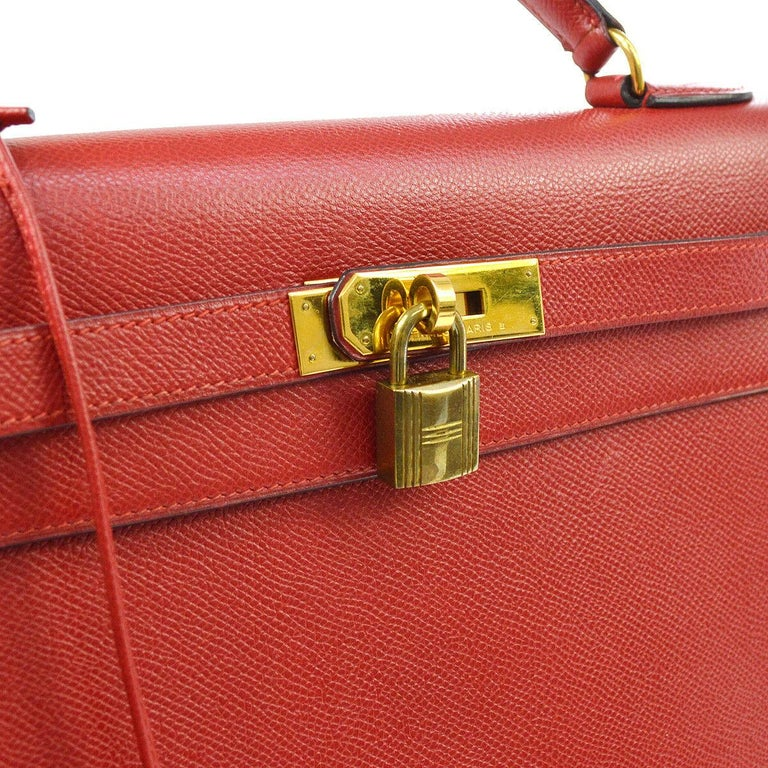 Hermes Kelly 32 Red Leather Gold Top Handle Satchel Evening Shoulder Tote Bag  Leather Gold tone hardware Leather lining Date code present Made in France Handle drop 3.5