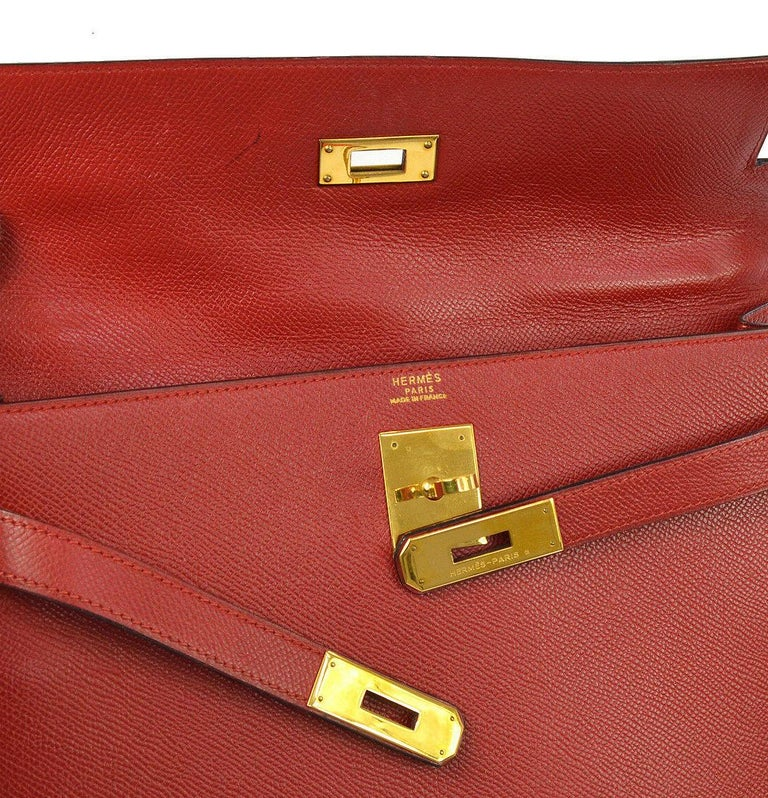 Hermes Kelly 32 Red Leather Gold Top Handle Satchel Shoulder Tote Bag  In Good Condition In Chicago, IL