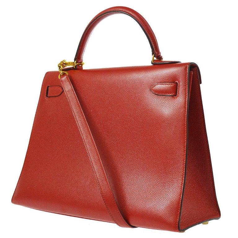 Women's Hermes Kelly 32 Red Leather Gold Top Handle Satchel Shoulder Tote Bag