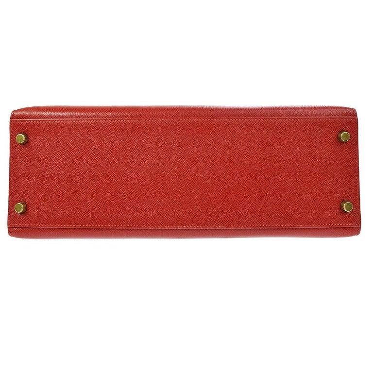 Hermes Kelly 32 Red Leather Gold Top Handle Satchel Shoulder Tote Bag  1