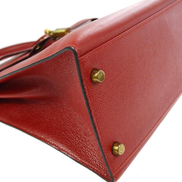 Hermes Kelly 32 Red Leather Gold Top Handle Satchel Shoulder Tote Bag  2