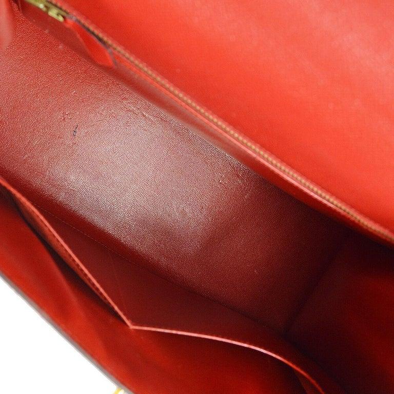Hermes Kelly 32 Red Leather Gold Top Handle Satchel Shoulder Tote Bag  3