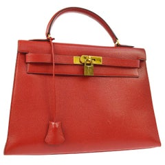Hermes Kelly 32 Red Leather Gold Top Handle Satchel Shoulder Tote Bag