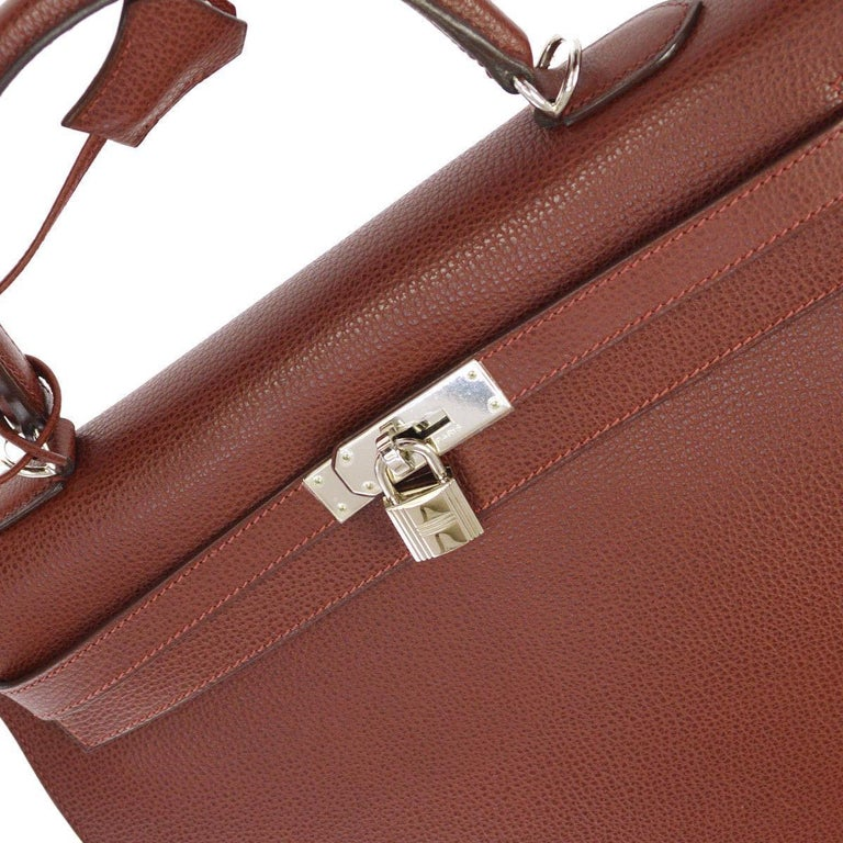 Hermes Kelly 35 Red Leather Palladium Silver Top Handle Satchel Shoulder Bag in Box  Leather Palladium silver tone hardware Leather lining Date code present Made in France Handle drop 3.5