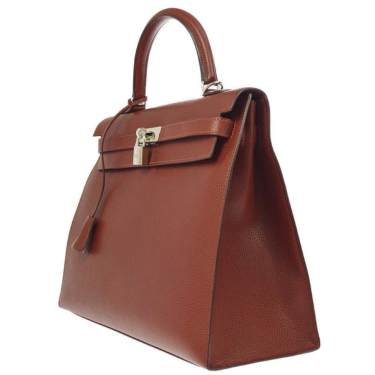 Hermes Kelly 35 Red Leather Palladium Top Handle Satchel Shoulder Bag in Box In Good Condition For Sale In Chicago, IL