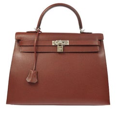Hermes Kelly 35 Red Leather Palladium Top Handle Satchel Shoulder Bag in Box