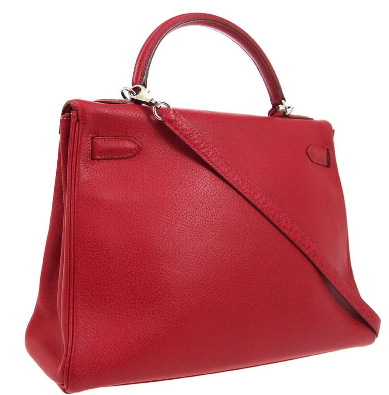 Hermes Kelly 32 Red Palladium Leather Top Handle Satchel Shoulder Tote Bag  In Good Condition In Chicago, IL