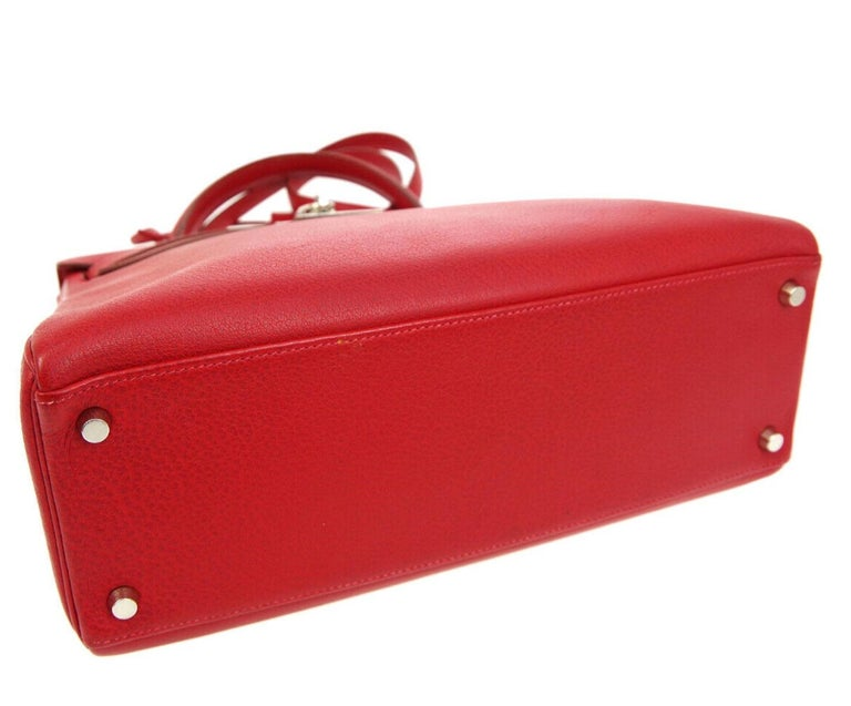 Women's Hermes Kelly 32 Red Palladium Leather Top Handle Satchel Shoulder Tote Bag