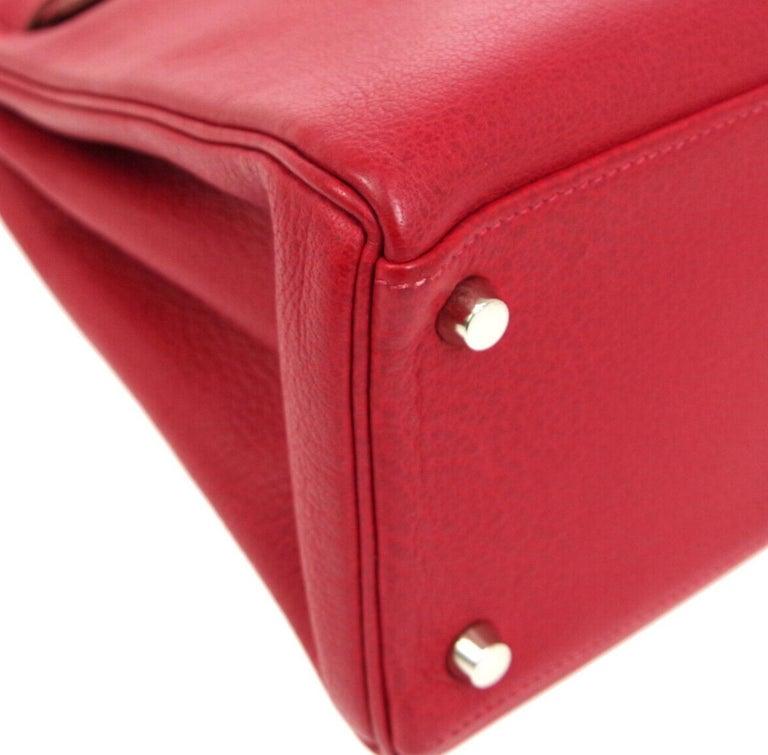 Hermes Kelly 32 Red Palladium Leather Top Handle Satchel Shoulder Tote Bag  1
