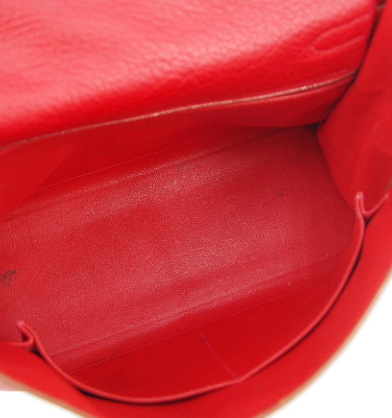 Hermes Kelly 32 Red Palladium Leather Top Handle Satchel Shoulder Tote Bag  2