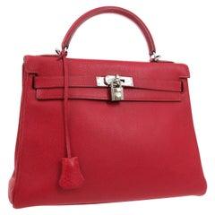Hermes Kelly 32 Red Palladium Leather Top Handle Satchel Shoulder Tote Bag