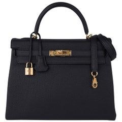 Hermes Kelly 32 Retourne Bag Black Gold Hardware Togo Leather