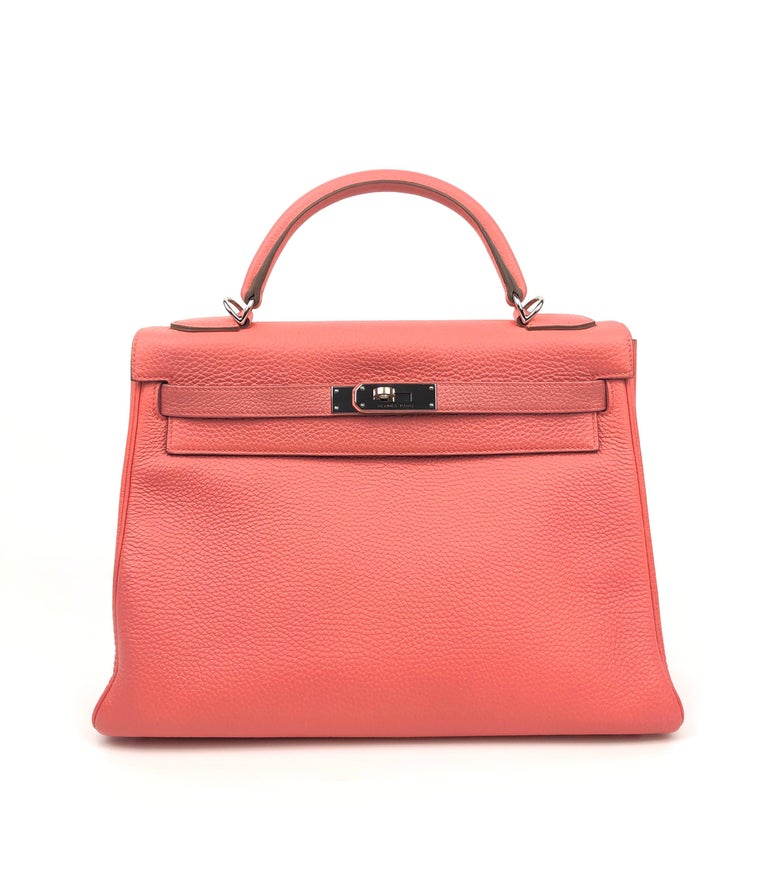 Hermes Kelly 32 Rose Lipstick Pink Togo Palladium Hardware. Excellent Condition, light hairlines on the hardware. Q stamp 2013.  Shop with confidence from Lux Addicts. Authenticity Guaranteed!