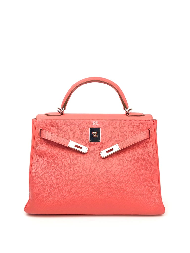 Orange Hermes Kelly 32 Rose Lipstick Pink Togo Palladium Hardware