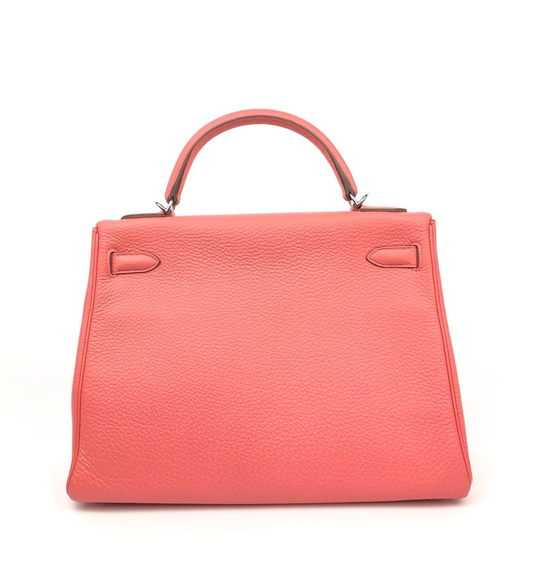 Hermes Kelly 32 Rose Lipstick Pink Togo Palladium Hardware In Excellent Condition In Miami, FL