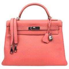 Hermes Kelly 32 Rose Lipstick Pink Togo Palladium Hardware
