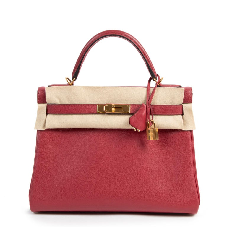 Hermes Kelly 32 Rouge Grenat Veau Evercolor GHW In Good Condition For Sale In Antwerp, BE