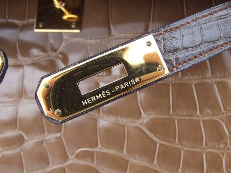 Hermes Kelly 32 Sellier Tricolor Beige Cognac Grey Alligator Crocodile GHW Bag  For Sale 8