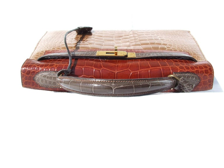 Hermes Kelly 32 Sellier Tricolor Beige Cognac Grey Alligator Crocodile GHW Bag  For Sale 9