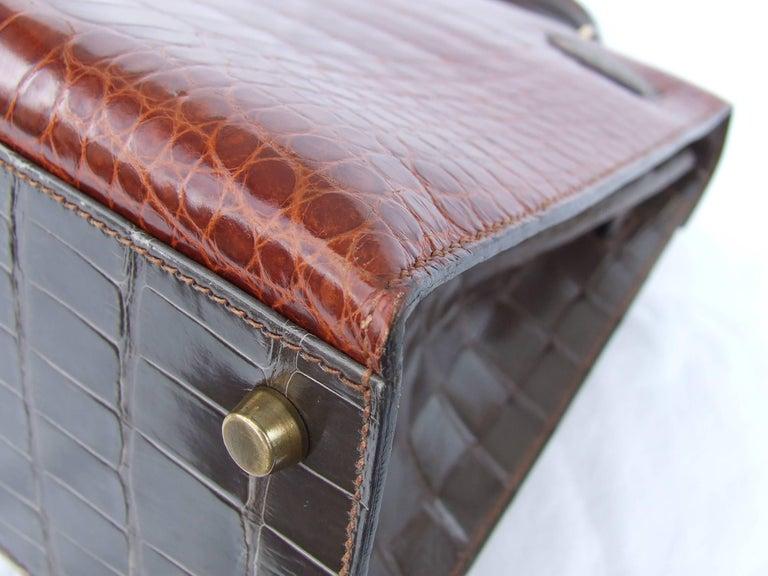 Hermes Kelly 32 Sellier Tricolor Beige Cognac Grey Alligator Crocodile GHW Bag  For Sale 12