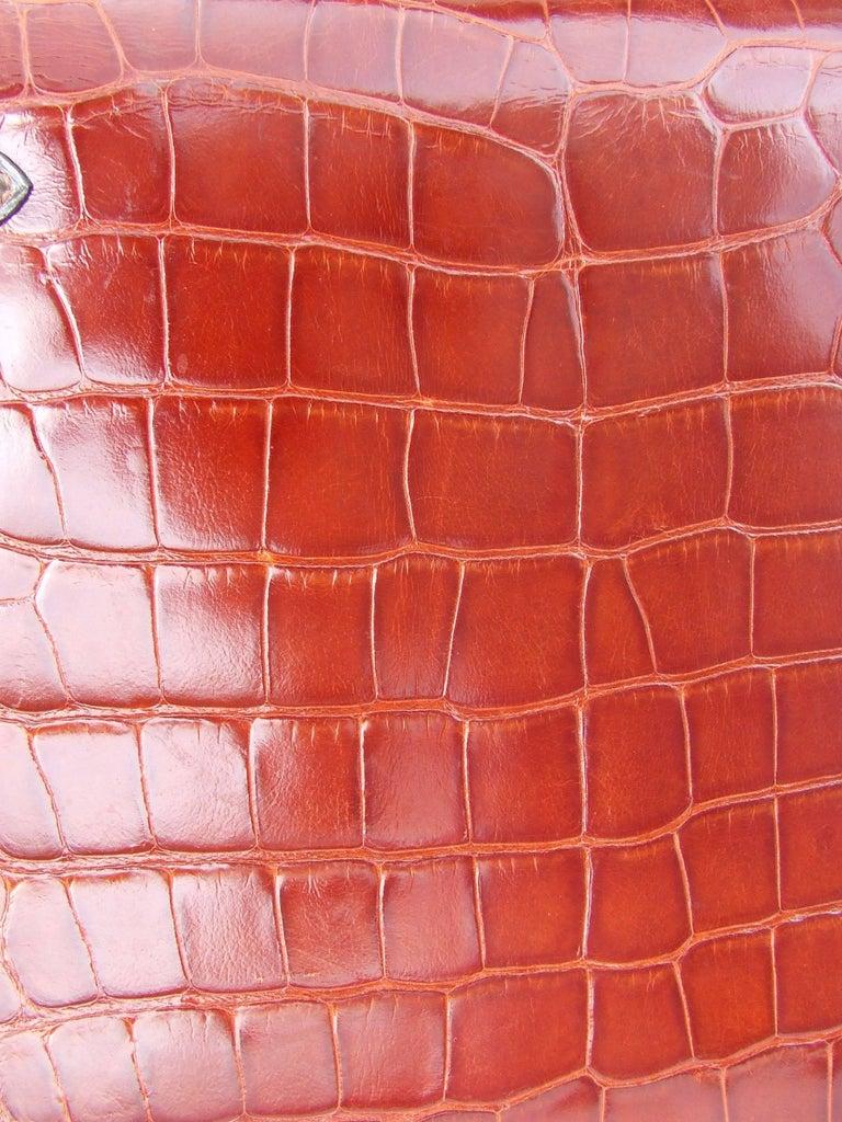 Hermes Kelly 32 Sellier Tricolor Beige Cognac Grey Alligator Crocodile GHW Bag  For Sale 14