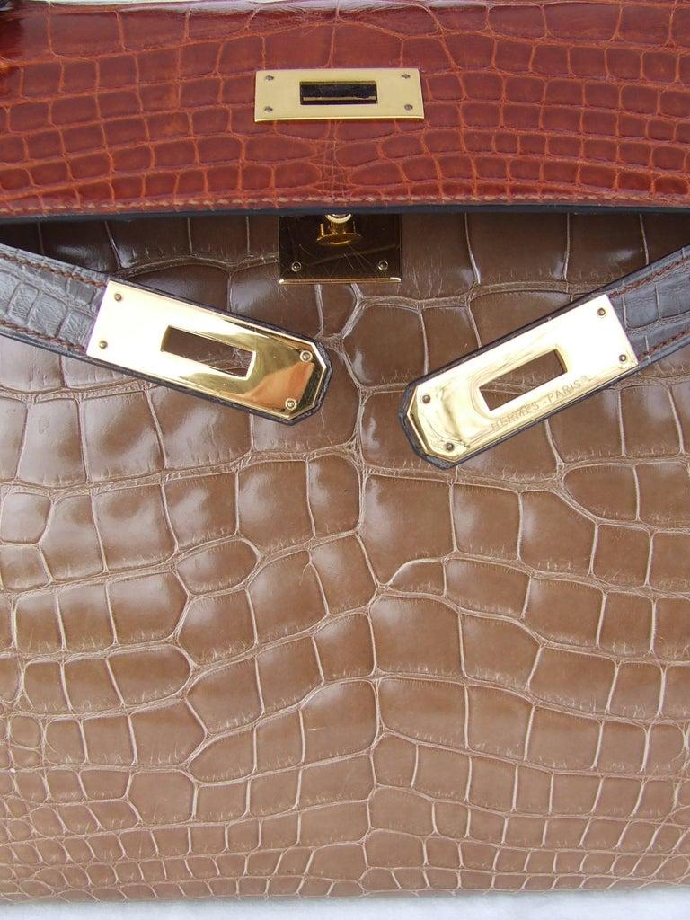 Hermes Kelly 32 Sellier Tricolor Beige Cognac Grey Alligator Crocodile GHW Bag  For Sale 15