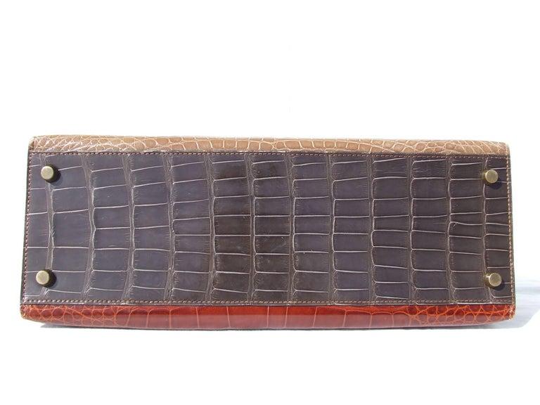 Blue Hermes Kelly 32 Sellier Tricolor Beige Cognac Grey Alligator Crocodile GHW Bag  For Sale