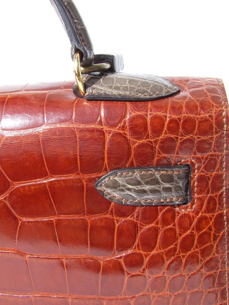 Hermes Kelly 32 Sellier Tricolor Beige Cognac Grey Alligator Crocodile GHW Bag  For Sale 2