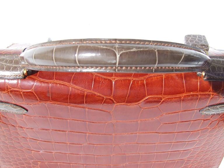 Hermes Kelly 32 Sellier Tricolor Beige Cognac Grey Alligator Crocodile GHW Bag  For Sale 3