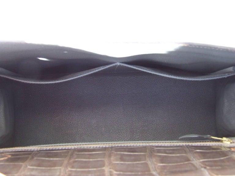 Hermes Kelly 32 Sellier Tricolor Beige Cognac Grey Alligator Crocodile GHW Bag  For Sale 4