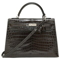 Hermès Kelly 32 Sellier Grey Elephant alligator