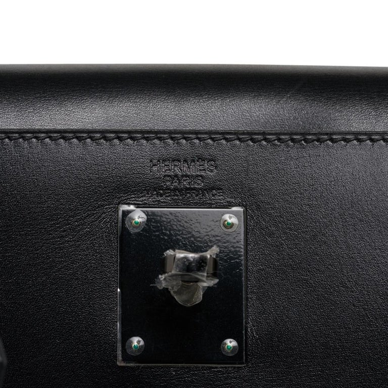 Women's Hermes Kelly 32 So Black Bag Box Leather Limited Edition For Sale