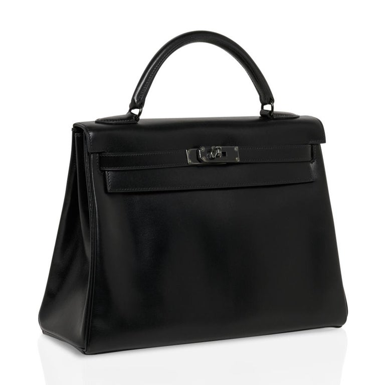 Hermes Kelly 32 So Black Bag Box Leather Limited Edition For Sale 1