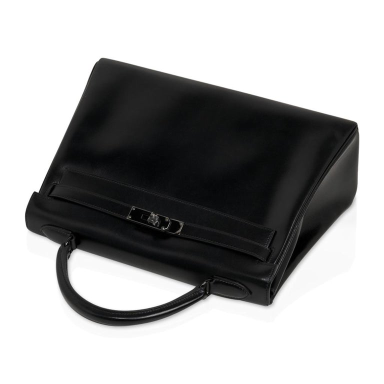 Hermes Kelly 32 So Black Bag Box Leather Limited Edition For Sale 2