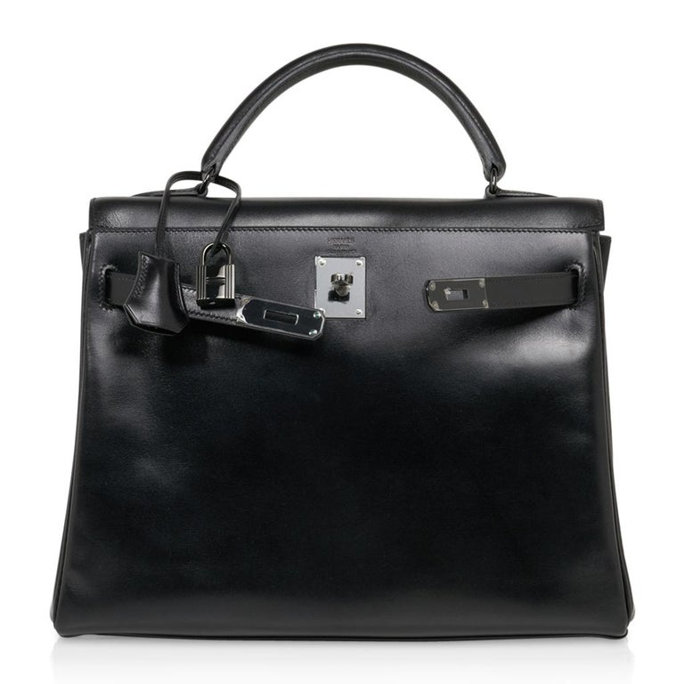 Hermes Kelly 32 So Black Bag Box Leather Limited Edition For Sale 4