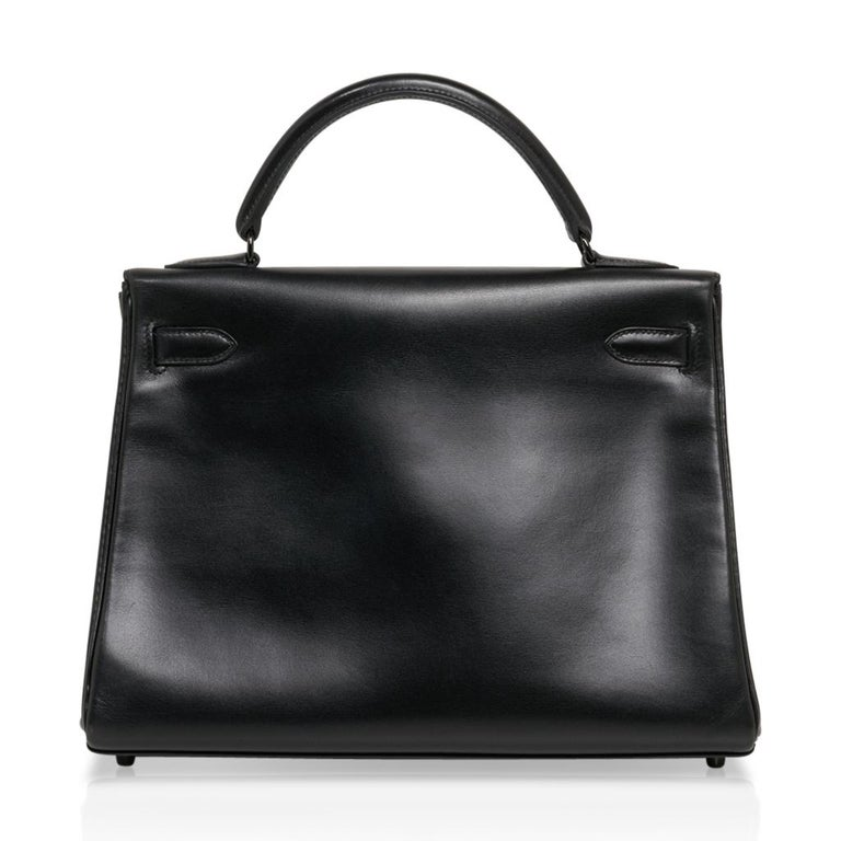 Hermes Kelly 32 So Black Bag Box Leather Limited Edition For Sale 5