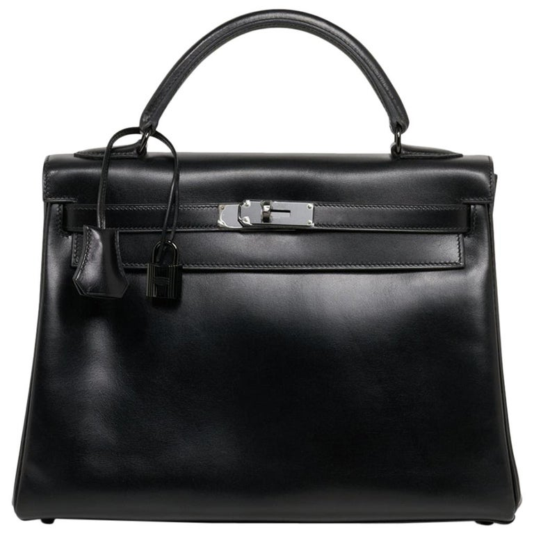 Hermes Kelly 32 So Black Bag Box Leather Limited Edition For Sale