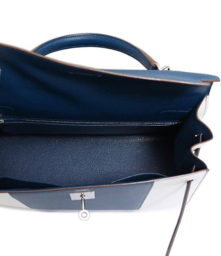 Hermes Kelly 32 Special Edition Blue White Top Handle Satchel Shoulder Tote Bag  For Sale 5