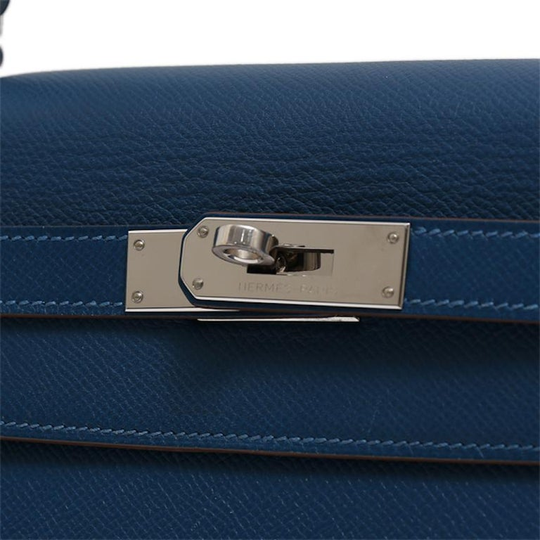 Purple Hermes Kelly 32 Special Edition Blue White Top Handle Satchel Shoulder Tote Bag  For Sale