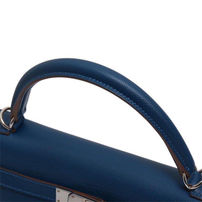 Hermes Kelly 32 Special Edition Blue White Top Handle Satchel Shoulder Tote Bag  In Excellent Condition For Sale In Chicago, IL