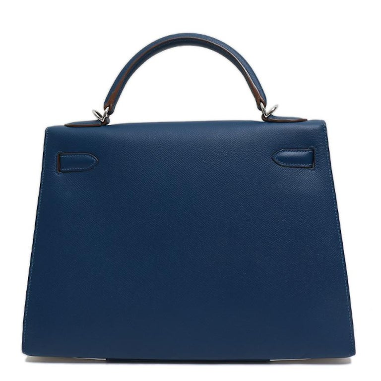 Women's Hermes Kelly 32 Special Edition Blue White Top Handle Satchel Shoulder Tote Bag  For Sale