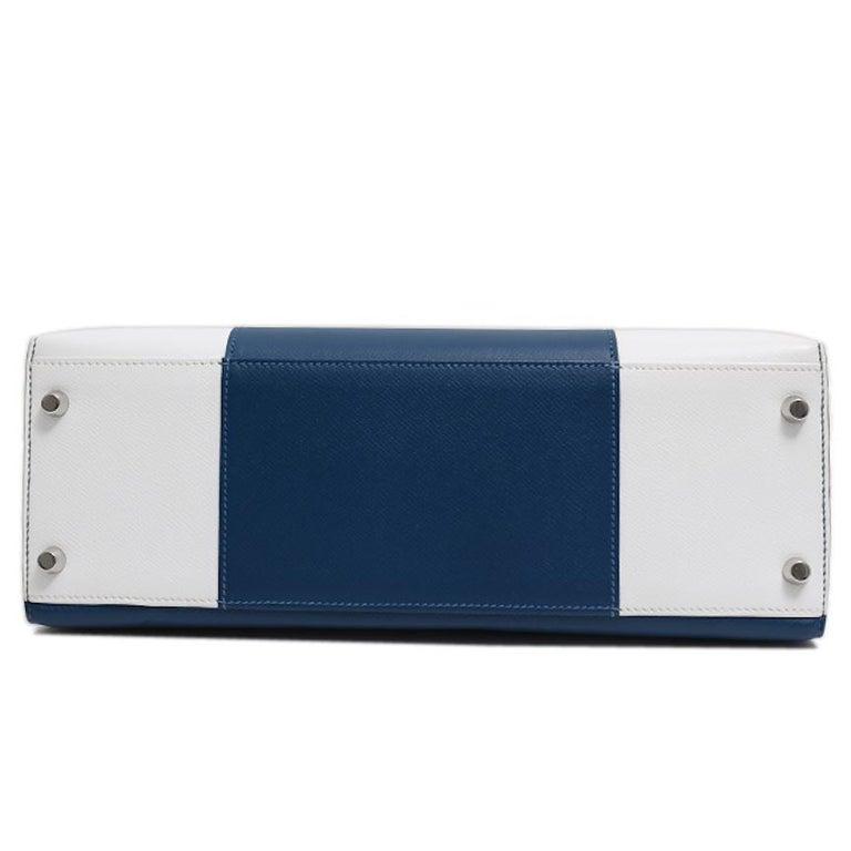 Hermes Kelly 32 Special Edition Blue White Top Handle Satchel Shoulder Tote Bag  For Sale 1