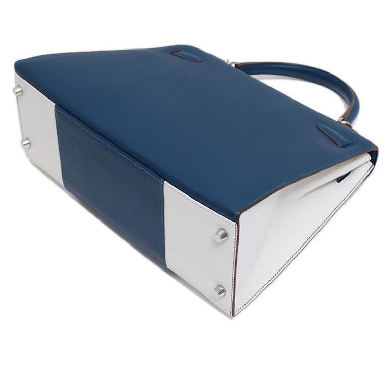 Hermes Kelly 32 Special Edition Blue White Top Handle Satchel Shoulder Tote Bag  For Sale 2